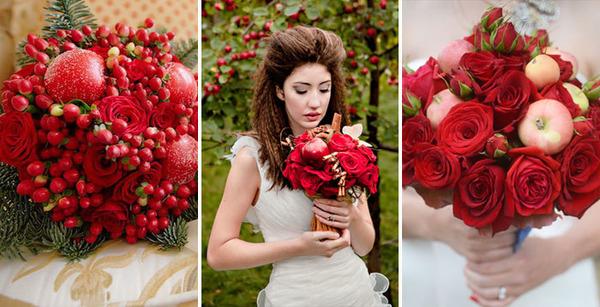 Свадебный букет с яблоками: идеи оформления с фото