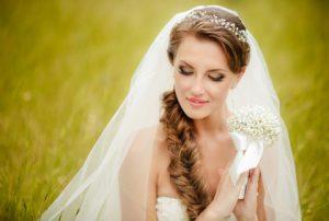 Свадебная прическа греческая коса 1